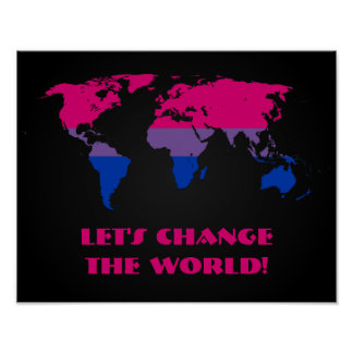 Bisexuality pride world map poster posters