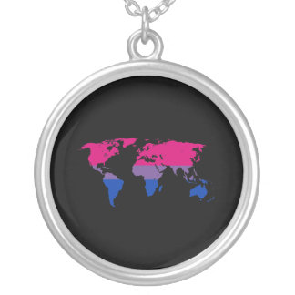Bisexuality pride world map silver plated necklace
