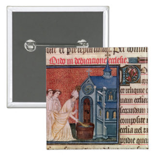 Bishop Consecrating a church 2 Inch Square Button