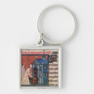 Bishop Consecrating a church Silver-Colored Square Keychain