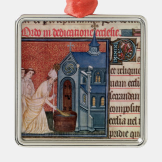 Bishop Consecrating a church Square Metal Christmas Ornament