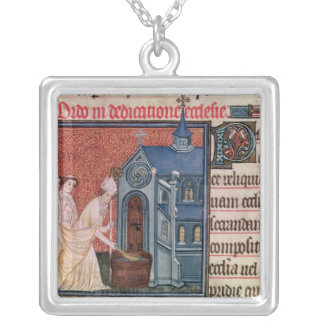 Bishop Consecrating a church Square Pendant Necklace