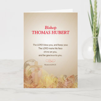 Bishop Custom Name, Title, 50th Ordination Anniv. Card