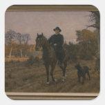 Bismarck a caballo con el perro pegatinas cuadradas personalizadas