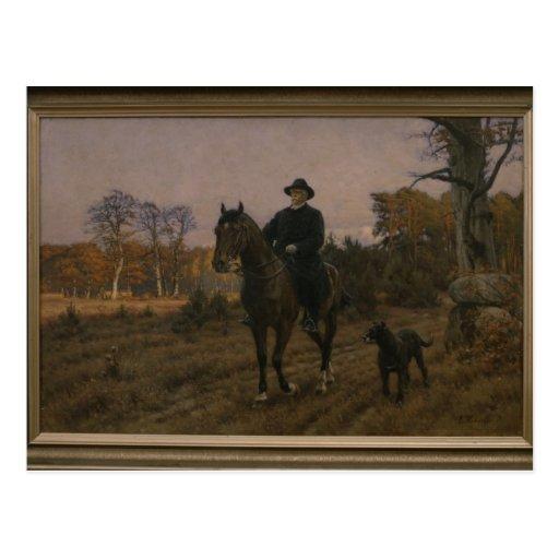 Bismarck a caballo con el perro tarjetas postales