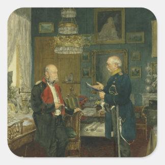 Bismarck con el emperador Wilhelm I Pegatina Cuadrada