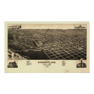 Bismarck North Dakota 1883 Antique Panoramic Map Poster