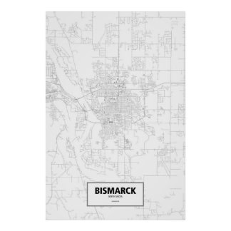 Bismarck, North Dakota (black on white) Print