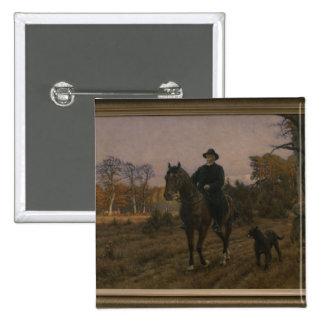Bismarck on Horseback with Dog Button