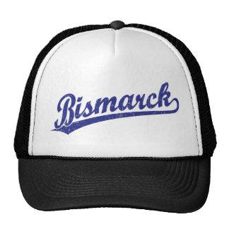 Bismarck script logo in blue trucker hats