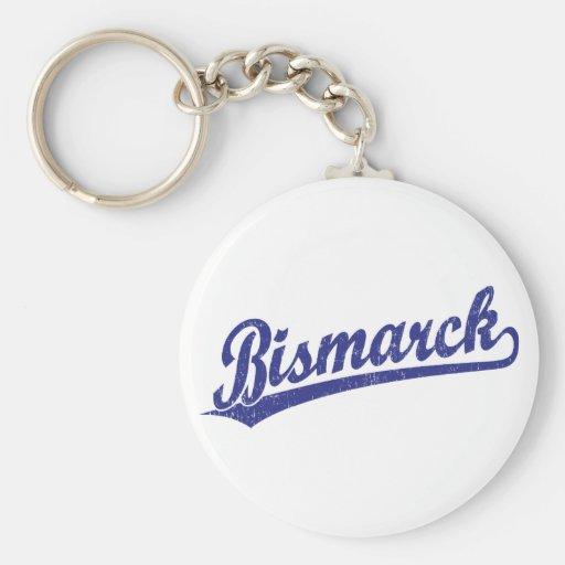 Bismarck script logo in blue key chain