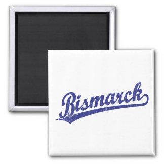 Bismarck script logo in blue fridge magnet