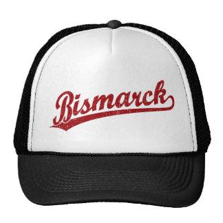 Bismarck script logo in red mesh hat