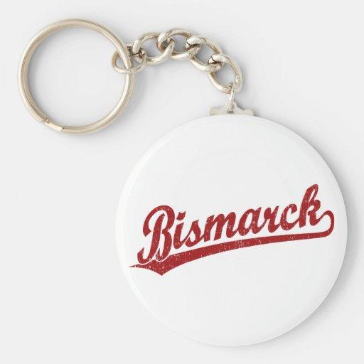 Bismarck script logo in red keychain