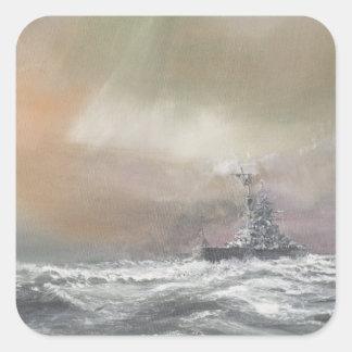 Bismarck señala Prinz Eugen 0959hrs el 24 de mayo Pegatina Cuadrada