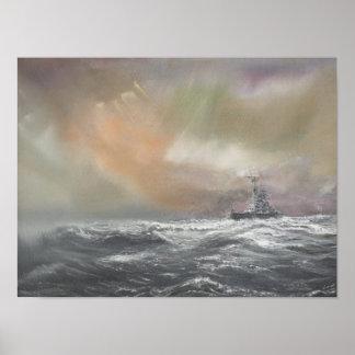 Bismarck señala Prinz Eugen 0959hrs el 24 de mayo Póster