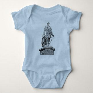 Bismarck Statue, Berlin,Full White Back, B & W (1) Baby Bodysuit