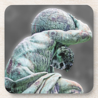 Bismarck Statue, Berlin, Greek God Atlas, Grey Bac Beverage Coaster