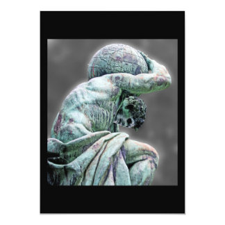 Bismarck Statue, Berlin, Greek God Atlas, Grey Bac 5x7 Paper Invitation Card