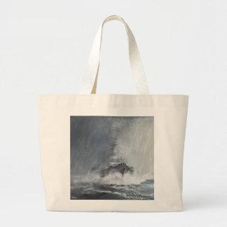 Bismarck through curtains of rain sleet large tote bag