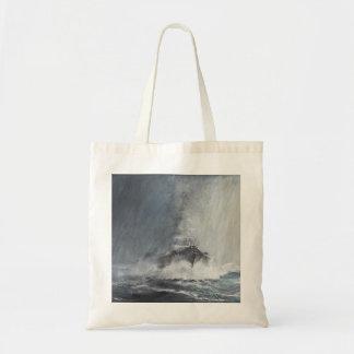 Bismarck through curtains of rain sleet tote bag
