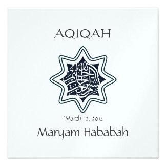 """Bismillah islámico de la estrella de Aqeeqa Aqiqah Invitación 5.25"""" X 5.25"""""""