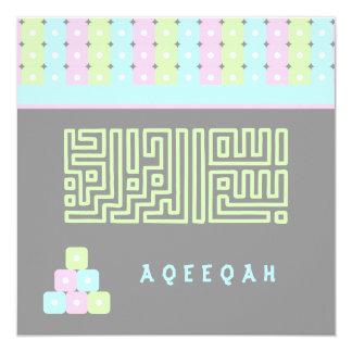 """Bismillah lindo islámico del ladrillo de Aqeeqah Invitación 5.25"""" X 5.25"""""""