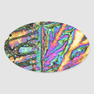 Bismuth chloride under the microscope oval sticker