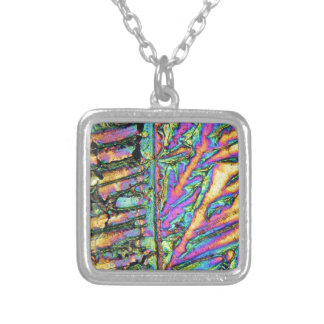 Bismuth chloride under the microscope silver plated necklace