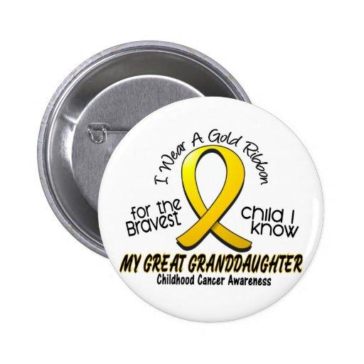 Bisnieta de la cinta del oro del cáncer de la niñe pin redondo 5 cm