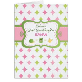 Bisnieta, recepción del bebé, personalizado tarjeta de felicitación