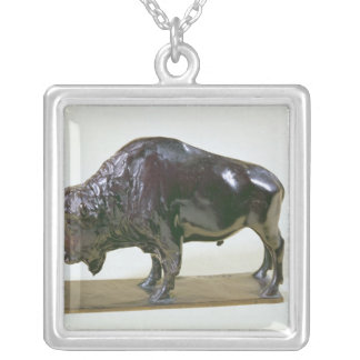 Bison, 1907 silver plated necklace