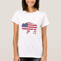 Bison - American Flag T-Shirt