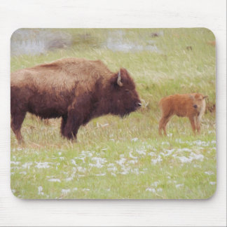 Bison and Calf in Yellowstone Mouse Pad