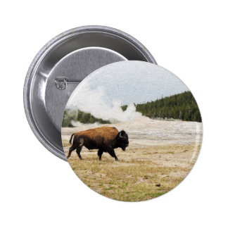Bison and Old Faithful Button