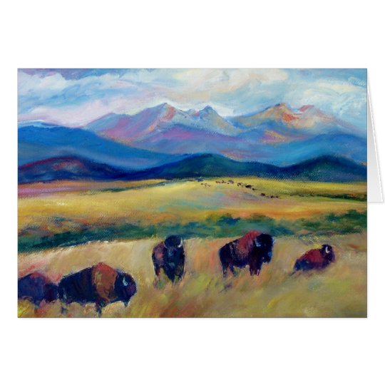 Bison and the Spanish Peaks Card