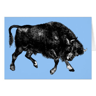 Bison Buffalo American Vintage Wood Engraving Card