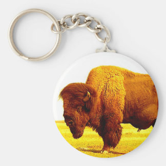 Bison / Buffalo Basic Round Button Keychain
