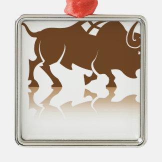 Bison Buffalo vector Metal Ornament