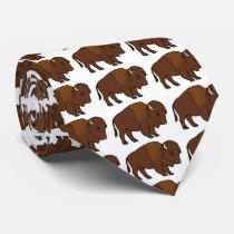 Bison Cartoon Neck Tie