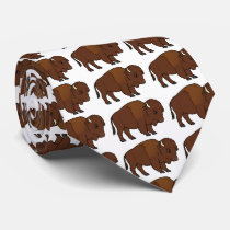 Bison Cartoon Neck Tie