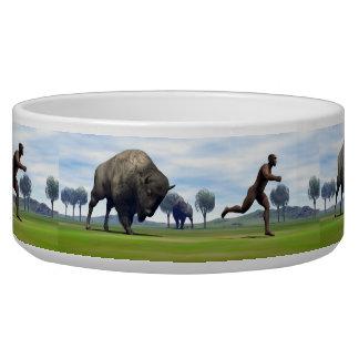 Bison charging homo erectus - 3D render Bowl