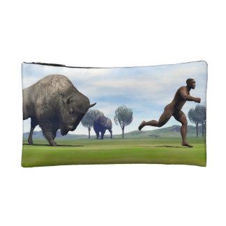 Bison charging homo erectus - 3D render Makeup Bag