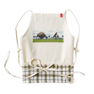 Bison charging homo erectus - 3D render Zazzle HEART Apron