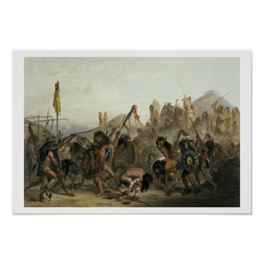 Bison-Dance of the Mandan Indians in front of thei Poster