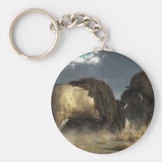 Bison Fight Basic Round Button Keychain