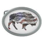 Bison Flag Buckle Oval Belt Buckle<br><div class='desc'>Bison American Flag</div>