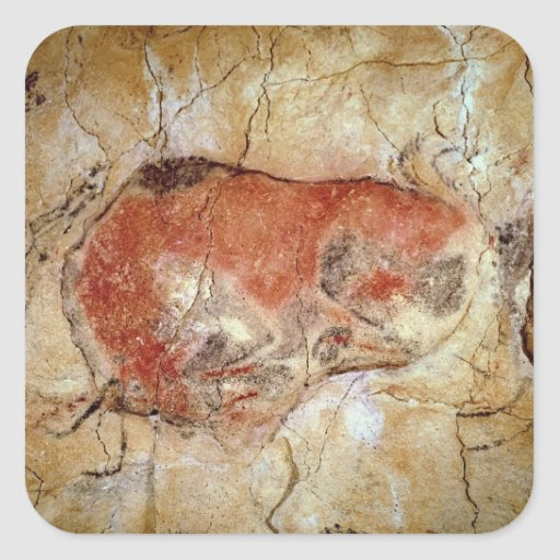 Bison from the Altamira Caves Square Sticker