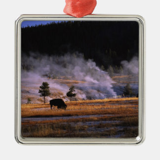 Bison grazing in the Upper Geyser Basin near Square Metal Christmas Ornament