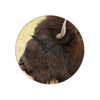 Bison Headshot Profile Round Wall Clock